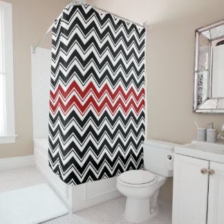 Red, Black, and White Contemporary Chevron Stripes Shower Curtain