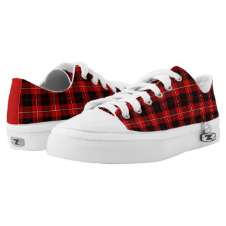 Red, Black and White Cunningham Clan Canvas Low Tops