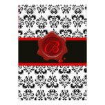 RED, BLACK AND WHITE DAMASK ,WAX SEAL MONOGRAM PERSONALISED INVITE