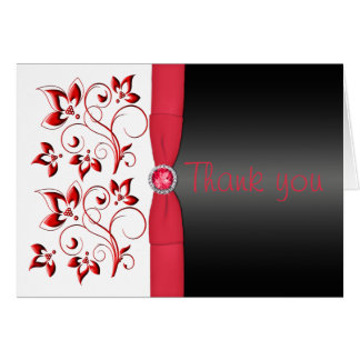 Red, Black and White Floral Thank You Card
