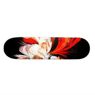 Red, Black and White Fractal Skate Deck