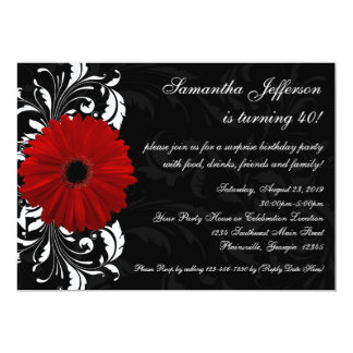 Red, Black and White Gerbera Daisy 40th Birthday 13 Cm X 18 Cm Invitation Card