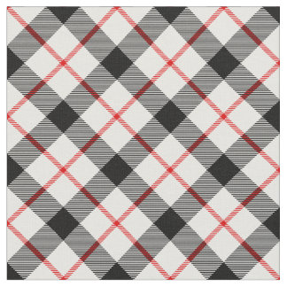 Red Black and White Plaid Fabric