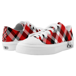 Red Black and White Plaid Lo-Top Printed Shoes