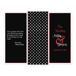 Red, Black, and White Polka Dot Wedding Program 21.5 Cm X 28 Cm Flyer