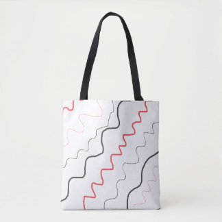Red, Black and White Scribbles Art Tote Bag