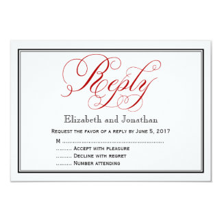Red Black and White Script Wedding Reply Card 9 Cm X 13 Cm Invitation Card