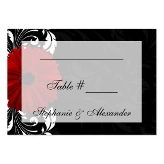 Red, Black and White Scroll Gerbera Daisy Business Card Templates