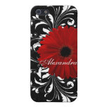 Red, Black and White Scroll Gerbera Daisy iPhone 5 Cover