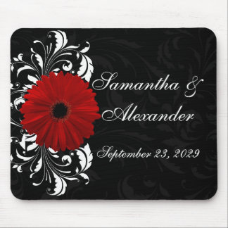 Red, Black and White Scroll Gerbera Daisy Mouse Pads