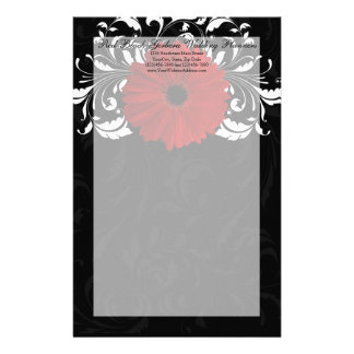 Red, Black and White Scroll Gerbera Daisy Stationery