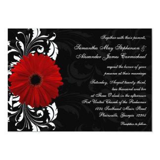 Red, Black and White Scroll Gerbera Daisy Wedding 13 Cm X 18 Cm Invitation Card