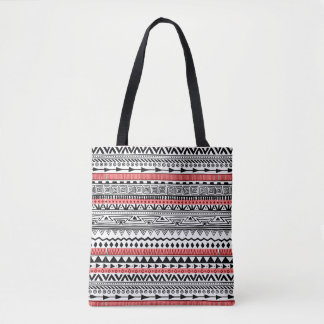Red Black and white Southwestern Pattern Tote Bag