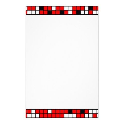Red, Black And White Squares Pattern Stationery Design