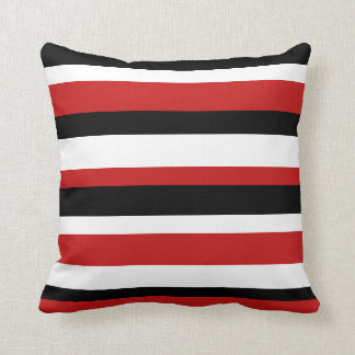 Red, Black, and White Striped Pillow