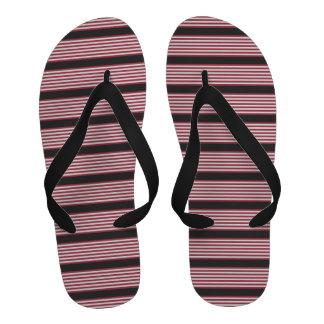 Red, Black and White Stripes Flip Flops Sandals