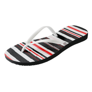 Red Black and White stripes Thongs