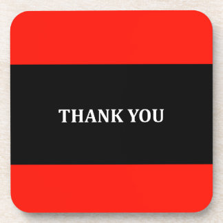 Red, black and white Thank you gifts Coaster