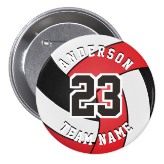 Red, Black and White Volleyball 7.5 Cm Round Badge