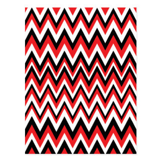 Red Black and White Zig Zag Pattern Postcard