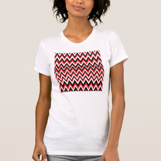 Red Black and White Zig Zag Pattern T-Shirts