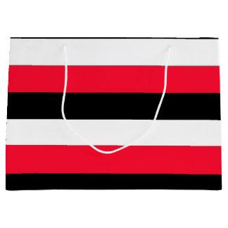 Red, black and whites stripes large gift bag