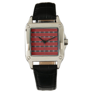 RED/BLACK BARS Women's Perfect Square Black Leathe Watch