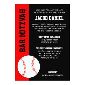 Red Black Baseball Bar Mitzvah 13 Cm X 18 Cm Invitation Card
