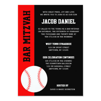 Red Black Baseball Bar Mitzvah Card