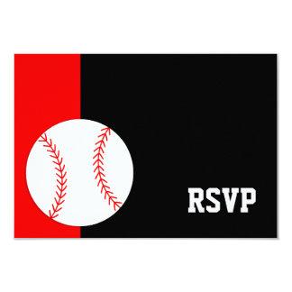 Red Black Baseball Bar Mitzvah RSVP 9 Cm X 13 Cm Invitation Card