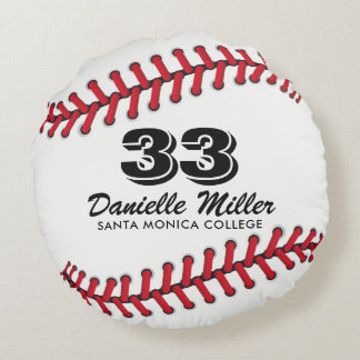 Red & Black Baseball Stitches Custom Template Round Cushion