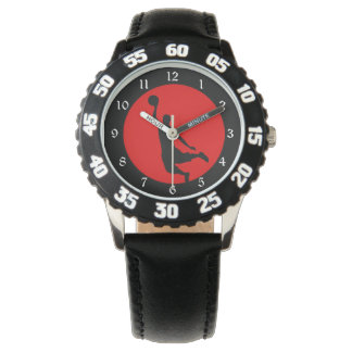 Red Black Basketball Silhouette Wrist Watch