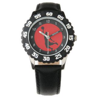 Red Black Basketball Silhouette Wrist Watch