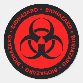 Red & Black Biohazard Symbol Sticker w/ Text