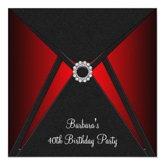 Red Black Birthday Party 13 Cm X 13 Cm Square Invitation Card