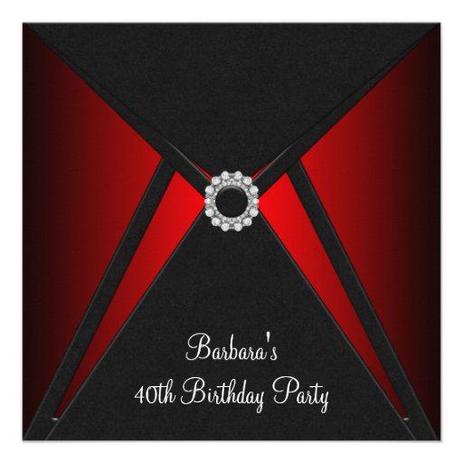 Red Black Birthday Party Red Black Party Custom Invites