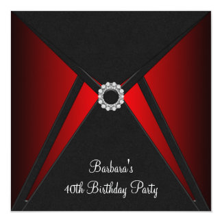 Red Black Birthday Party Red Black Party Custom Invites