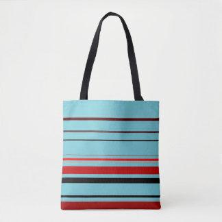 Red Black Blue Brown Stripes Tote Bag