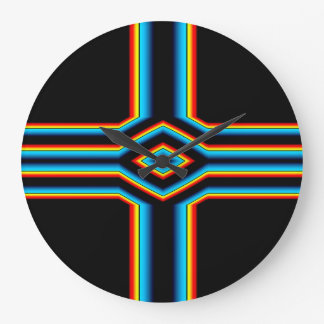 Red Black Blue Yellow Abstract Rainbow Neon Cross Large Clock