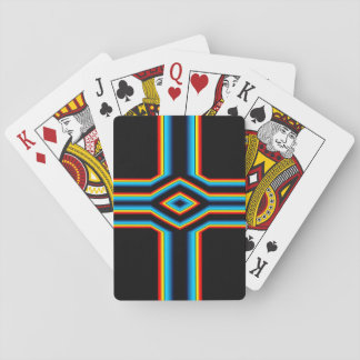 Red Black Blue Yellow Abstract Rainbow Neon Cross Playing Cards