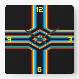 Red Black Blue Yellow Abstract Rainbow Neon Cross Square Wall Clock