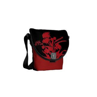 Red black bold floral mini messenger bag