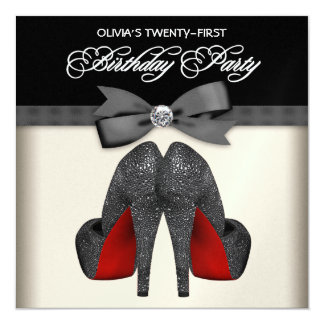 Red Black Bow Tie Womans 21st Birthday Party Custom Invitations