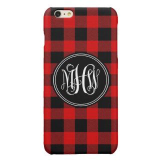 Red Black Buffalo Check Plaid 3 Init Vine Monogram