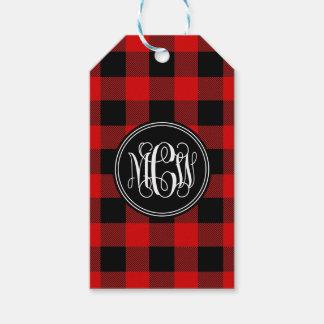 Red Black Buffalo Check Plaid 3 Init Vine Monogram Gift Tags
