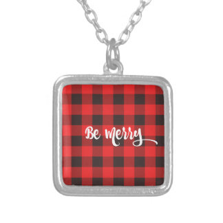 Red & Black Buffalo Check Plaid BE MERRY Silver Plated Necklace