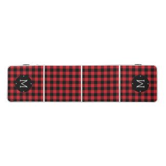 Red & Black Buffalo Check Plaid Monogram Beer Pong Table