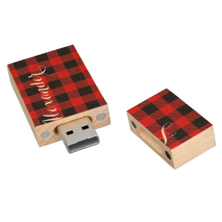 Red Black Buffalo Check Plaid Name Monogram NL Wood USB Flash Drive