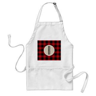 Red Black Buffalo Plaid Checkered Monogram Kraft Standard Apron