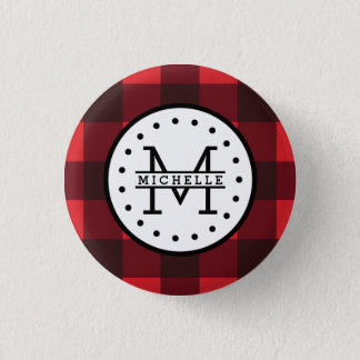 Red black Buffalo Plaid Lumberjack Name Monogram 3 Cm Round Badge